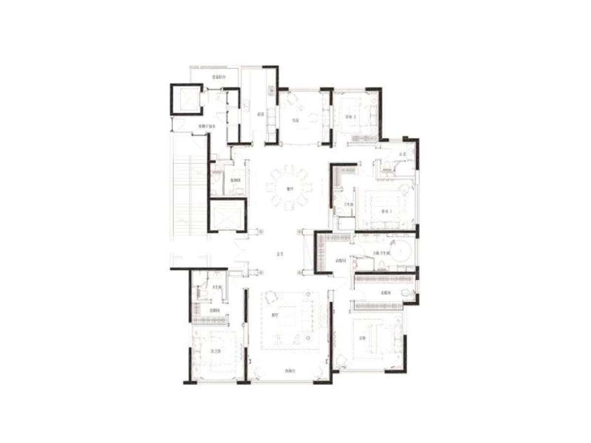 九龙仓滨江壹十八5室2厅4卫户型图
