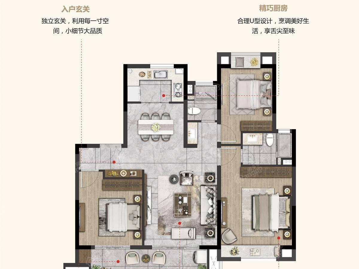 福基凤滨嘉园二期3室2厅2卫户型图
