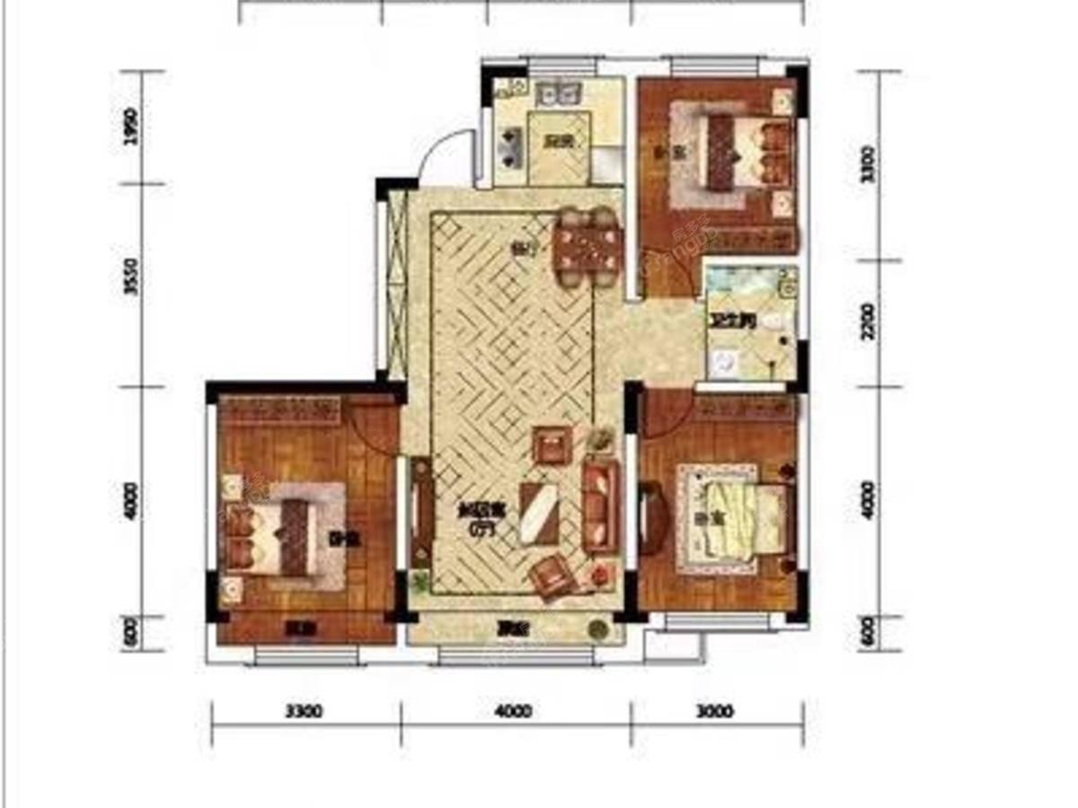 学府上城3室1厅1卫户型图