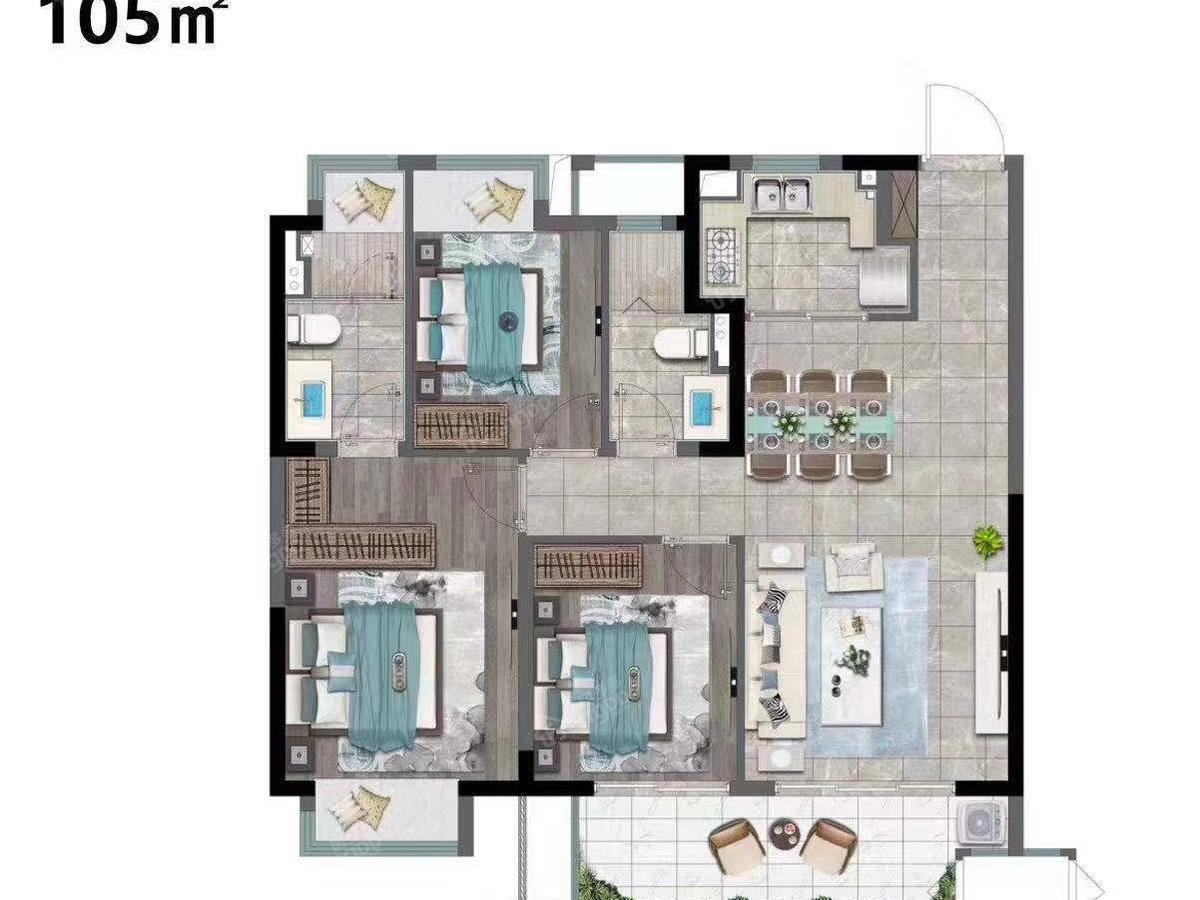 华侨城运河湾3室2厅2卫户型图