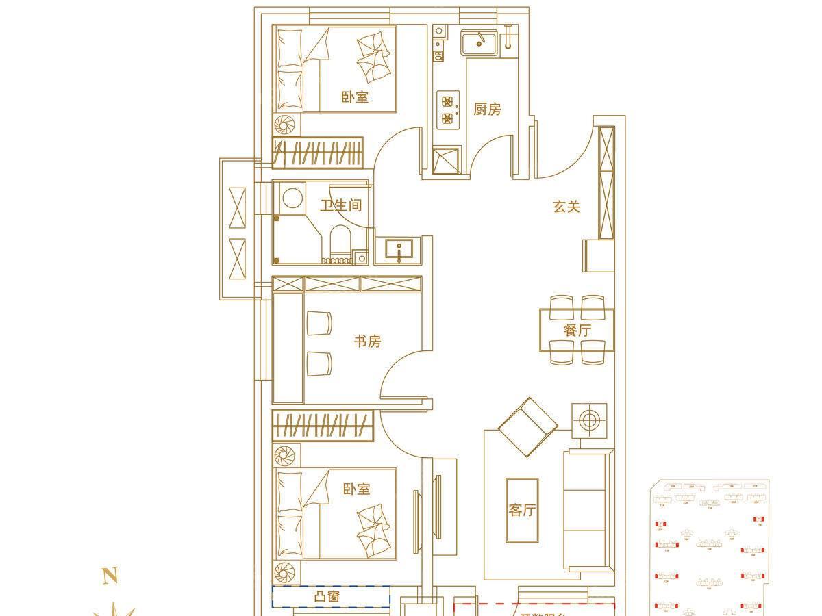 华夏航天首府3室2厅1卫户型图