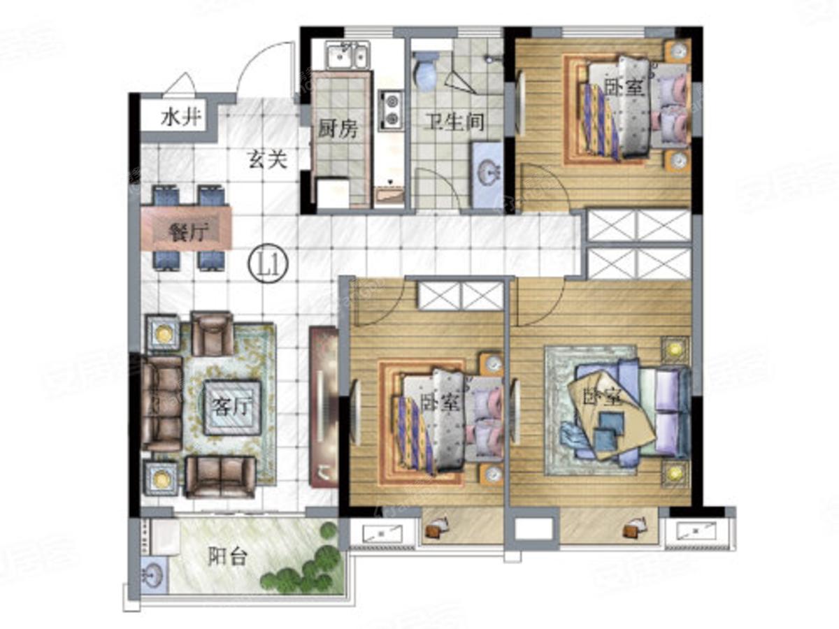 恒茂未来都会3室2厅2卫户型图