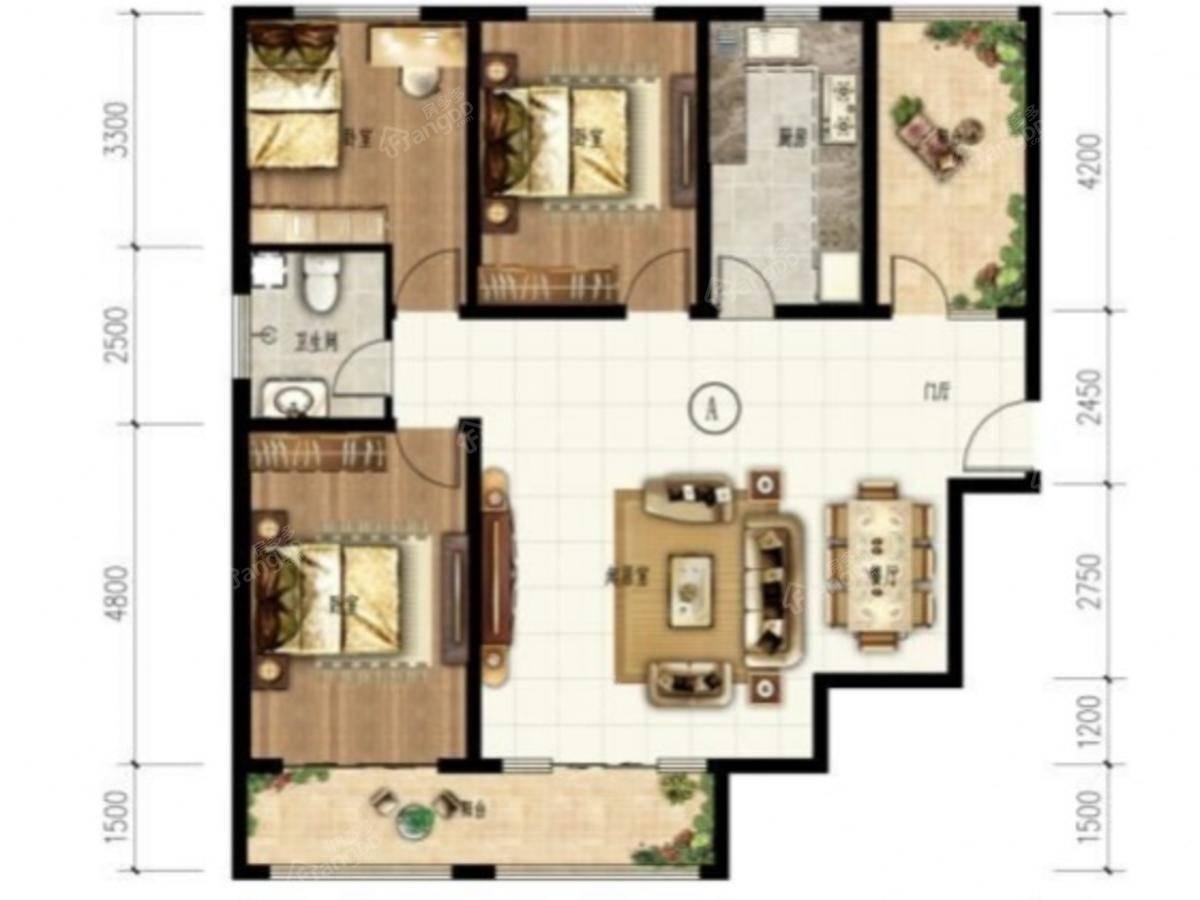 艾博龙园4室2厅1卫户型图