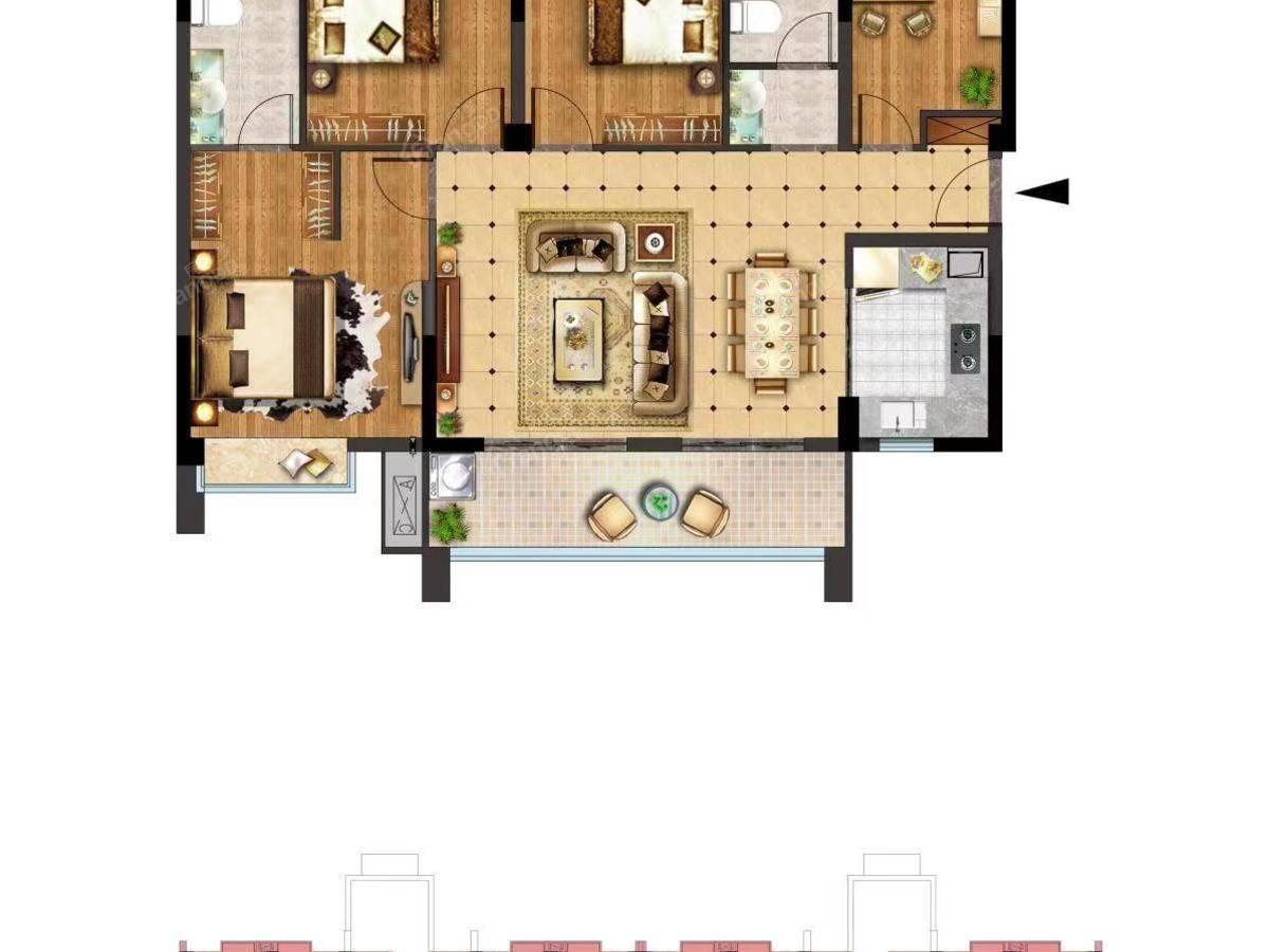 富力悦山湖4室2厅2卫户型图
