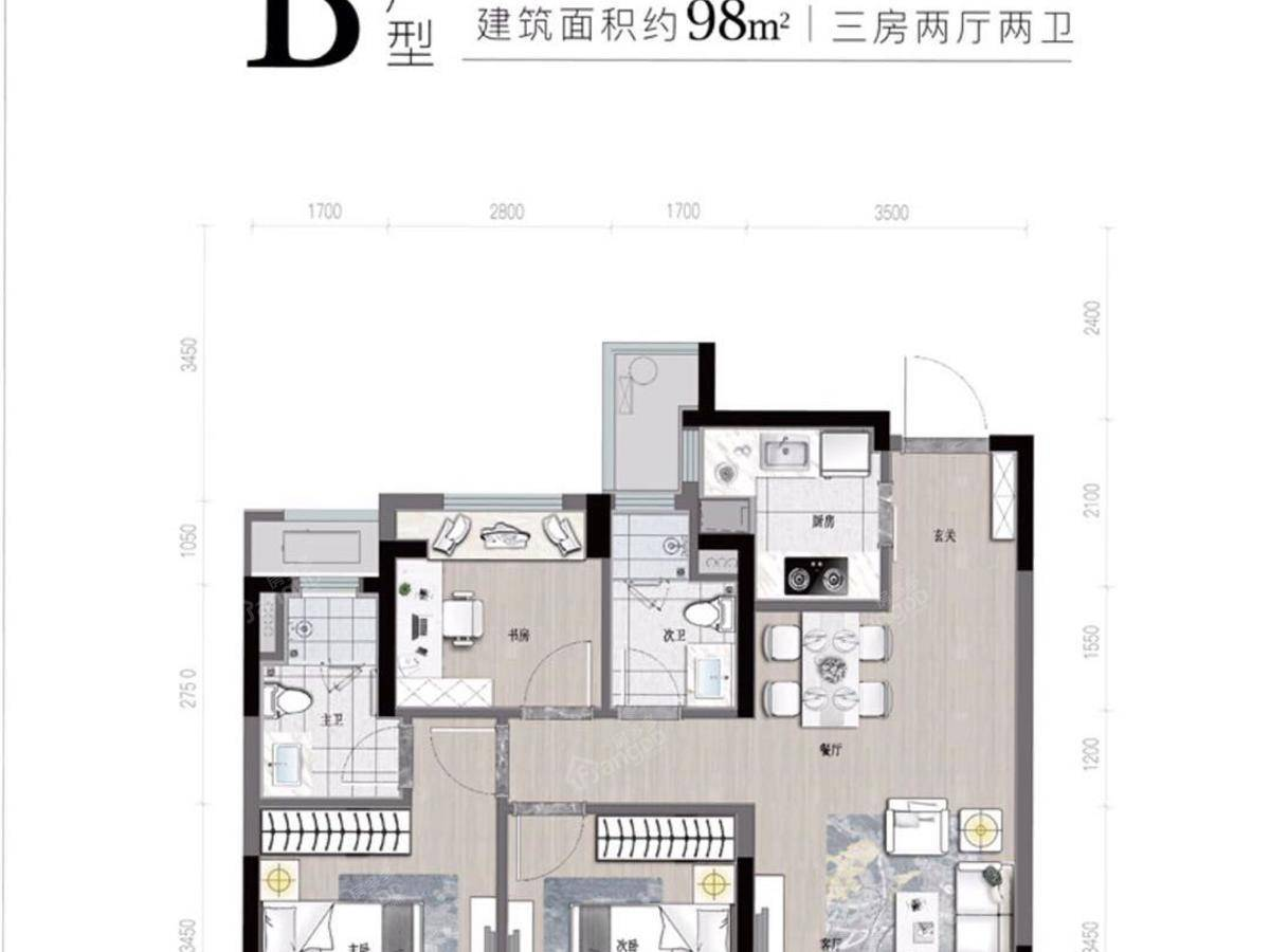 祥生湛景江山云樾府3室2厅2卫户型图