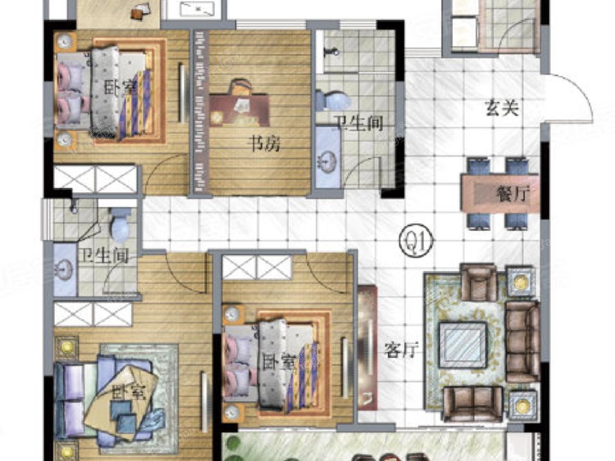 恒茂未来都会4室2厅2卫户型图