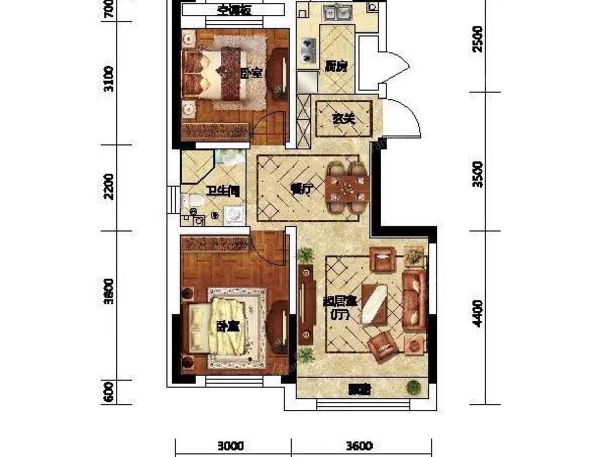 学府上城2室1厅1卫户型图
