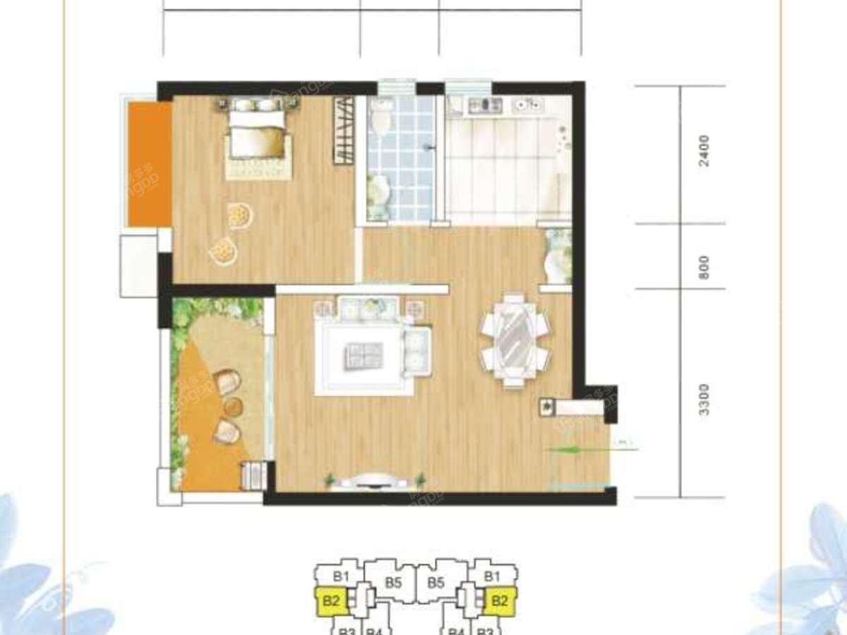 海怡东方1室1厅1卫户型图