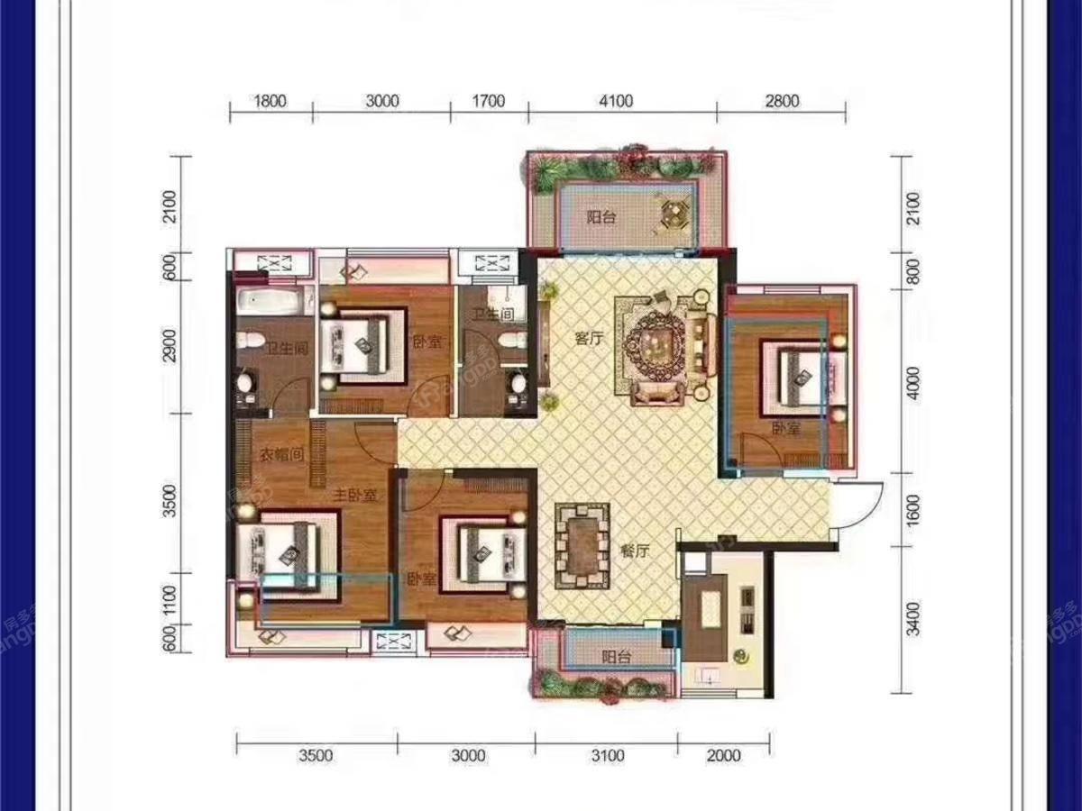 金钟·美墅湾3室2厅2卫户型图