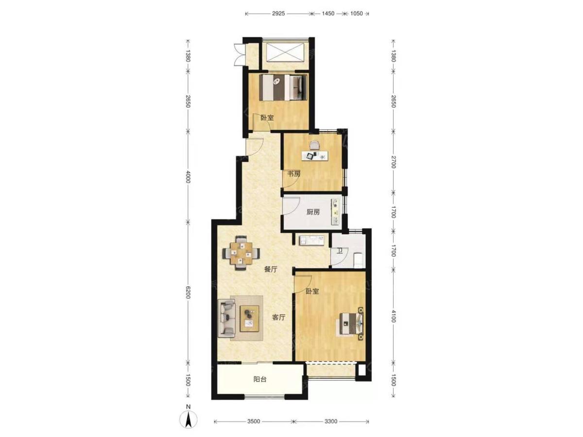 大爱城3室2厅1卫户型图