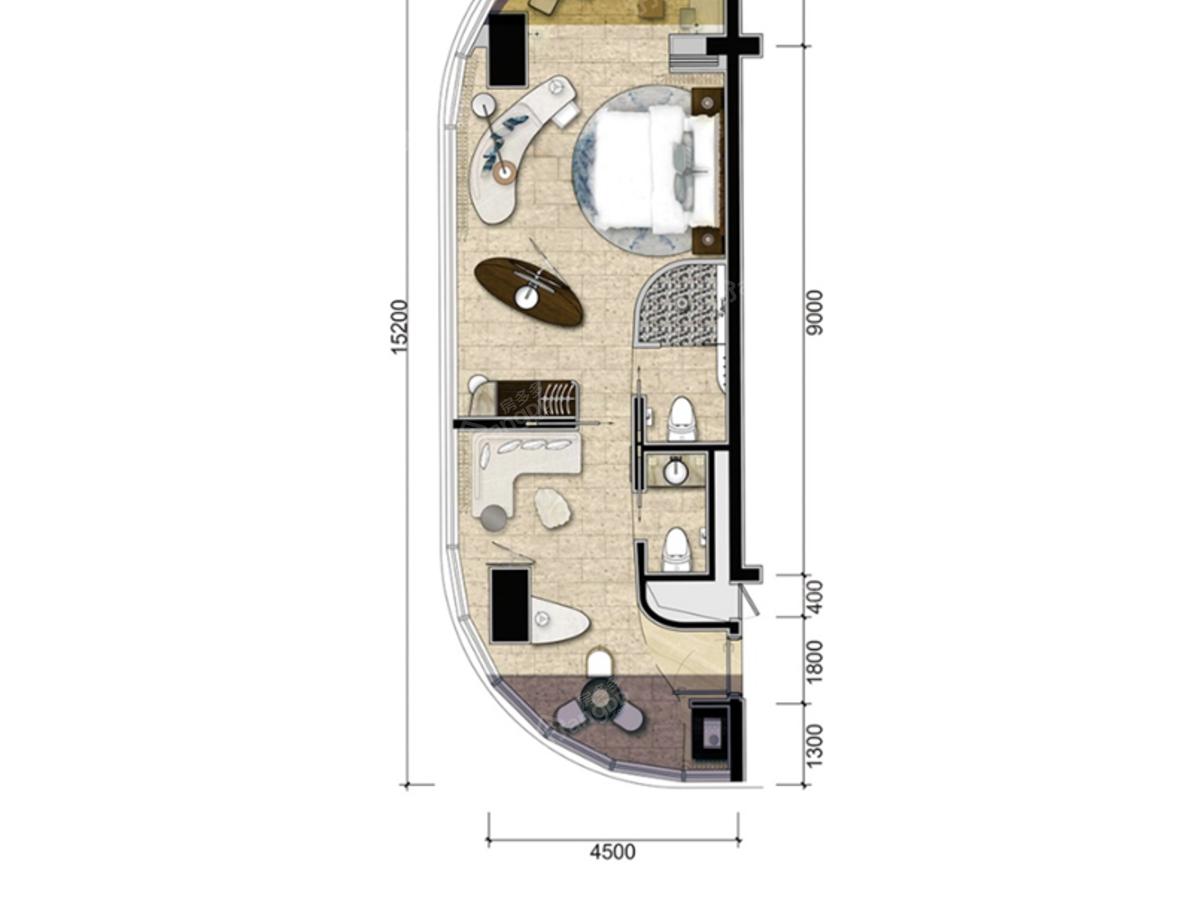 园方东山海2室1厅1卫户型图