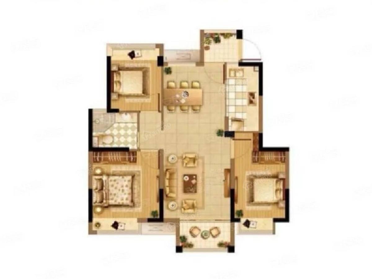 观湖佳苑3室2厅1卫户型图