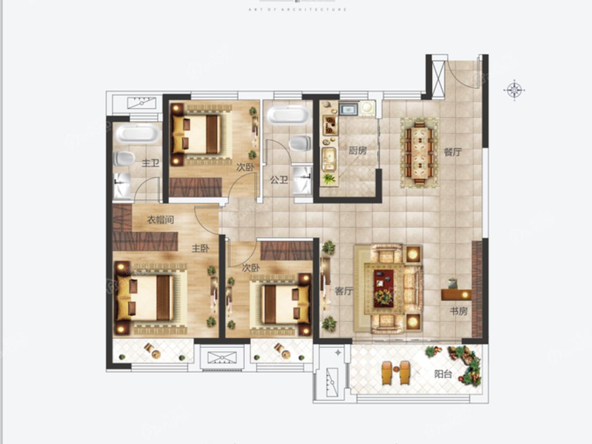 建业通和府3室2厅2卫户型图