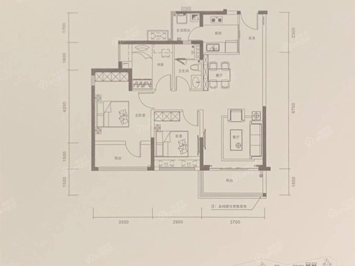京基御景半山花园3室2厅1卫户型图