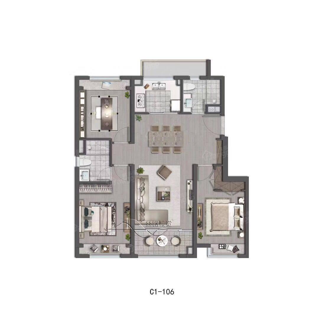 阳光城翡丽云邸3室2厅2卫户型图