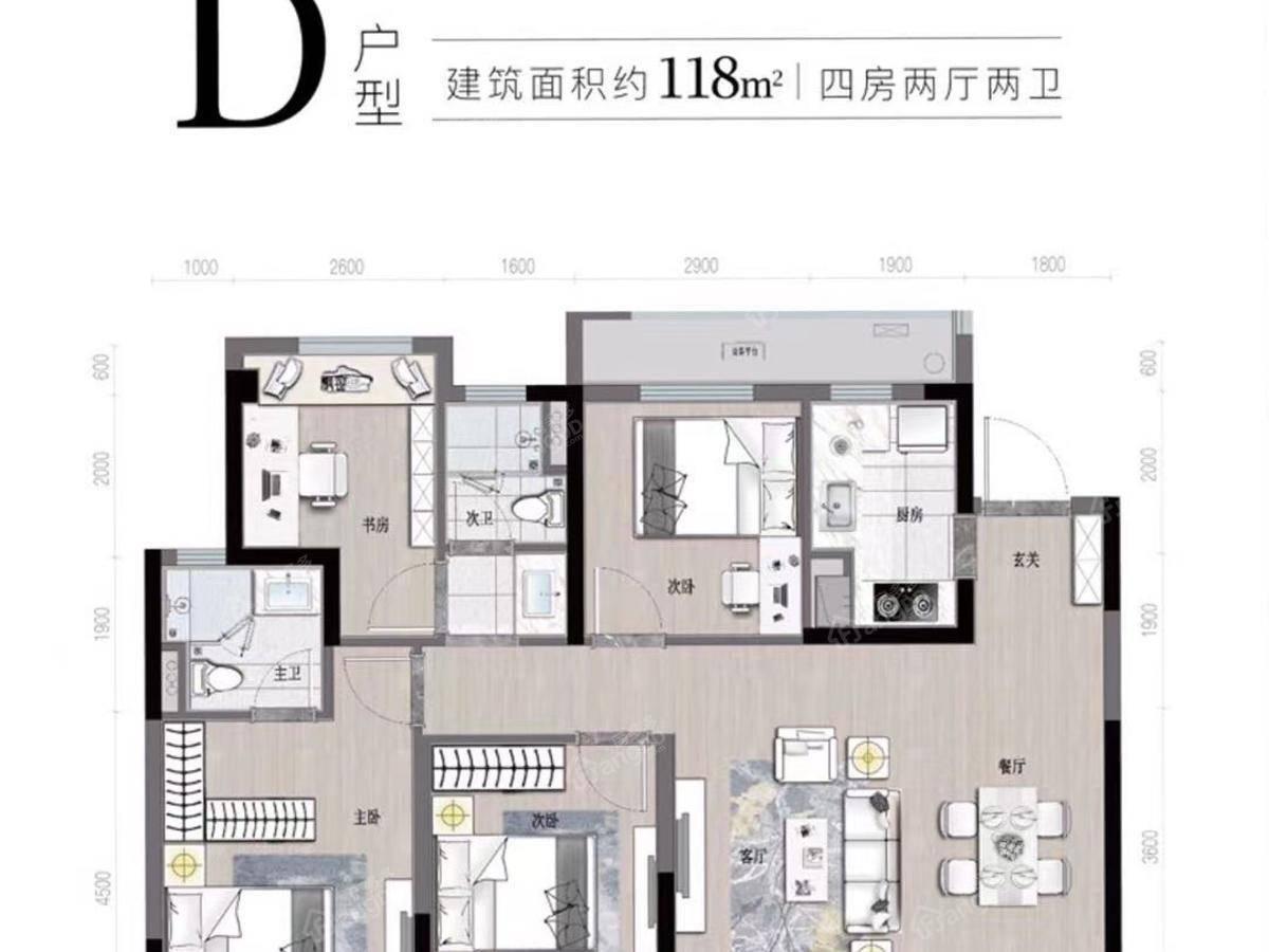 祥生湛景江山云樾府4室2厅2卫户型图
