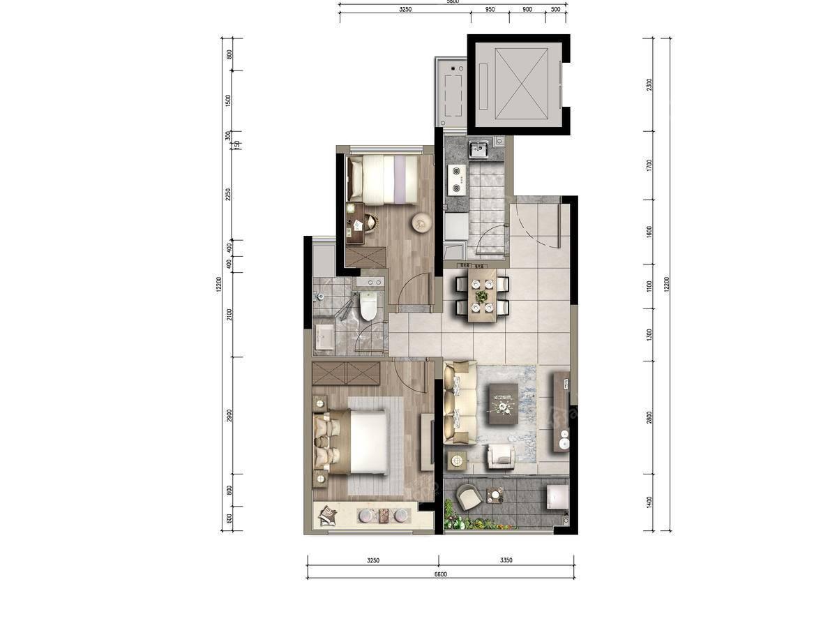合生晶萃2室1厅1卫户型图