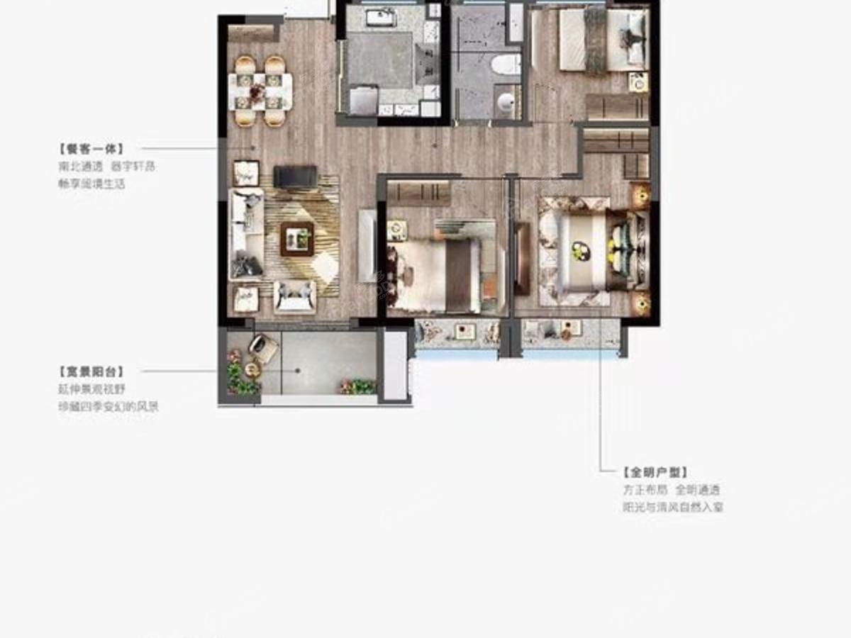 龙湖春江天越3室2厅1卫户型图