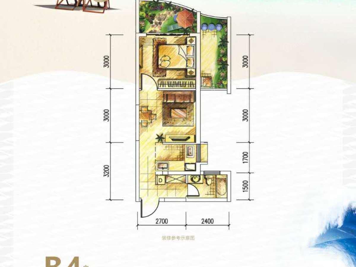 德利海北海1室1厅1卫户型图