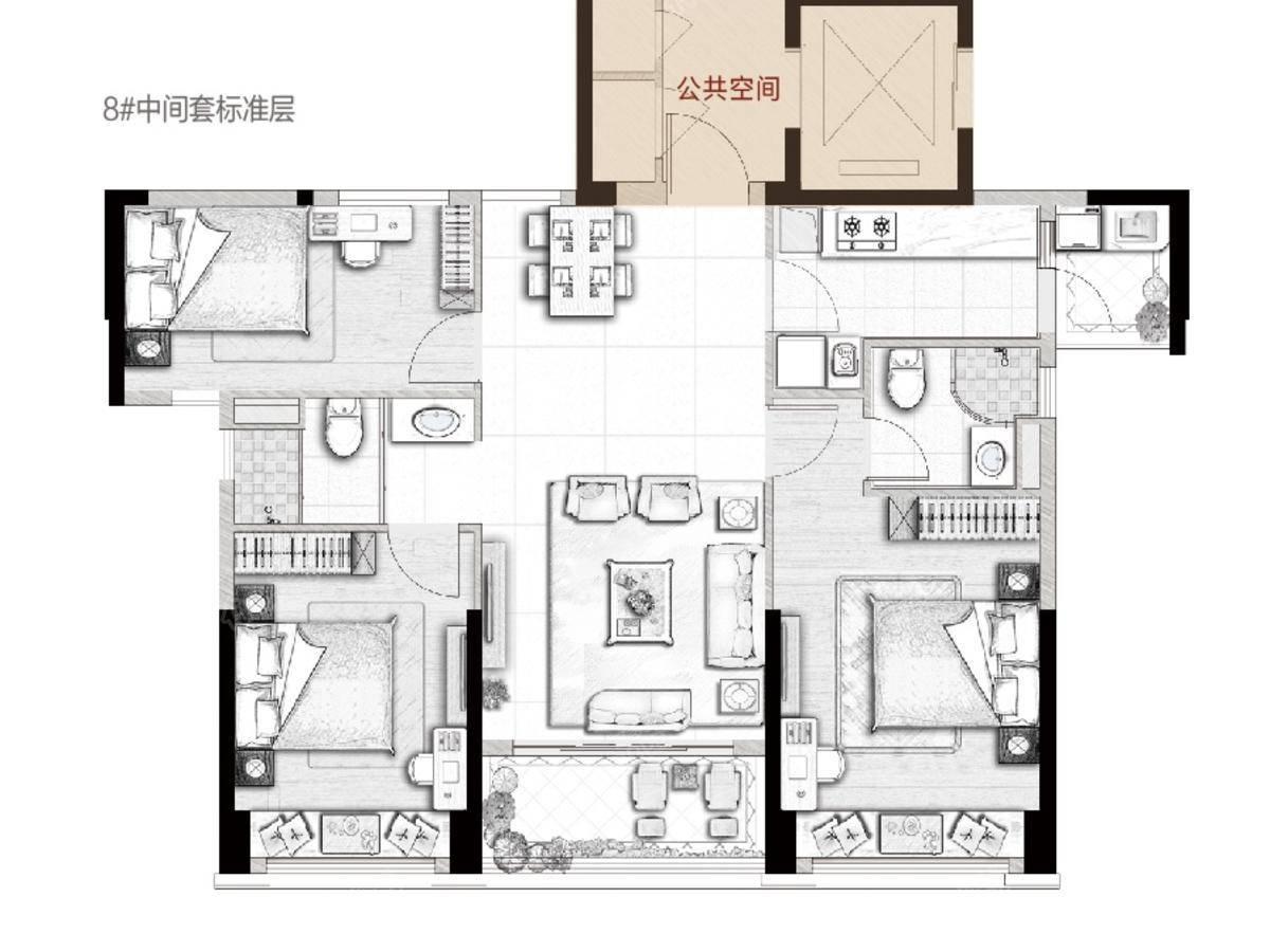 碧桂园大家滨江悦(录入订单)3室2厅2卫户型图