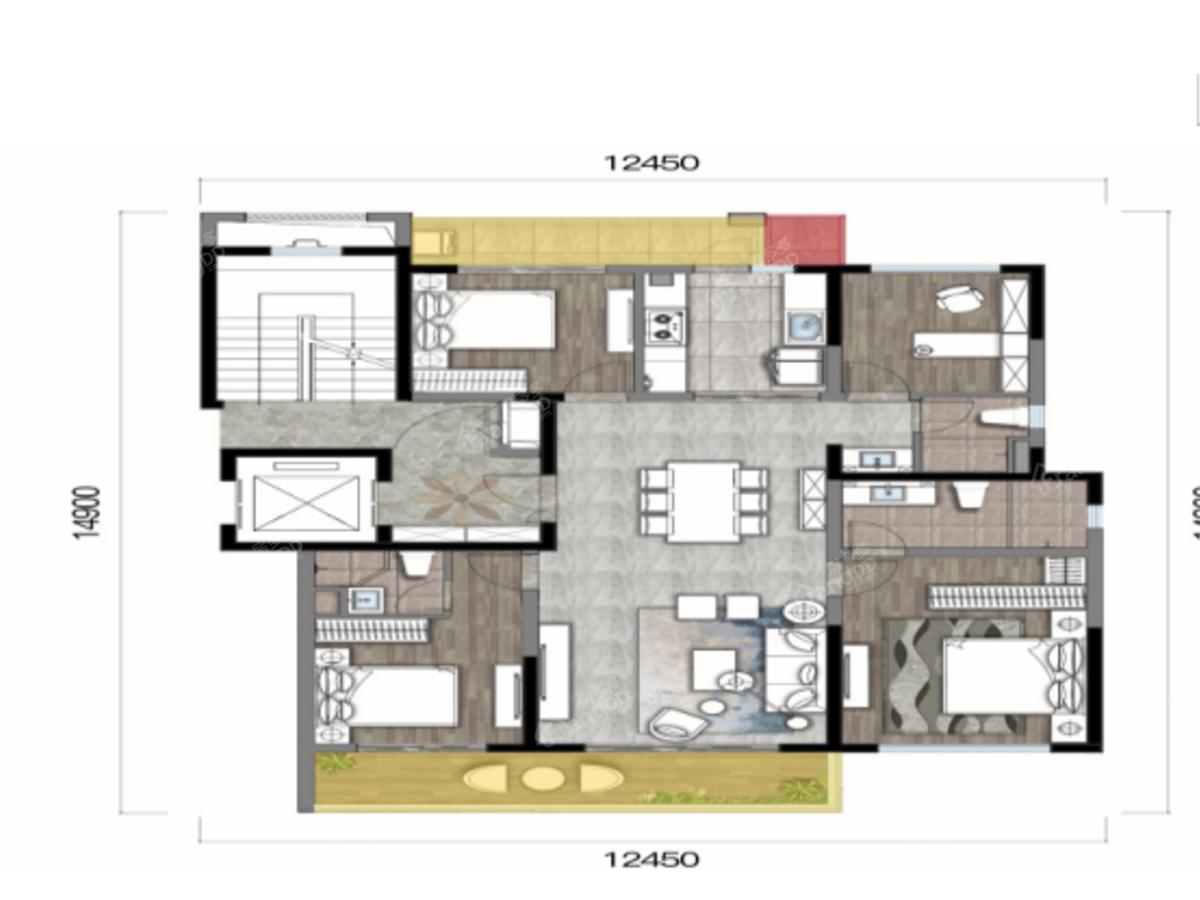 华夏四季4室2厅3卫户型图