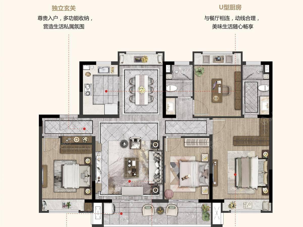 福基凤滨嘉园二期4室2厅2卫户型图