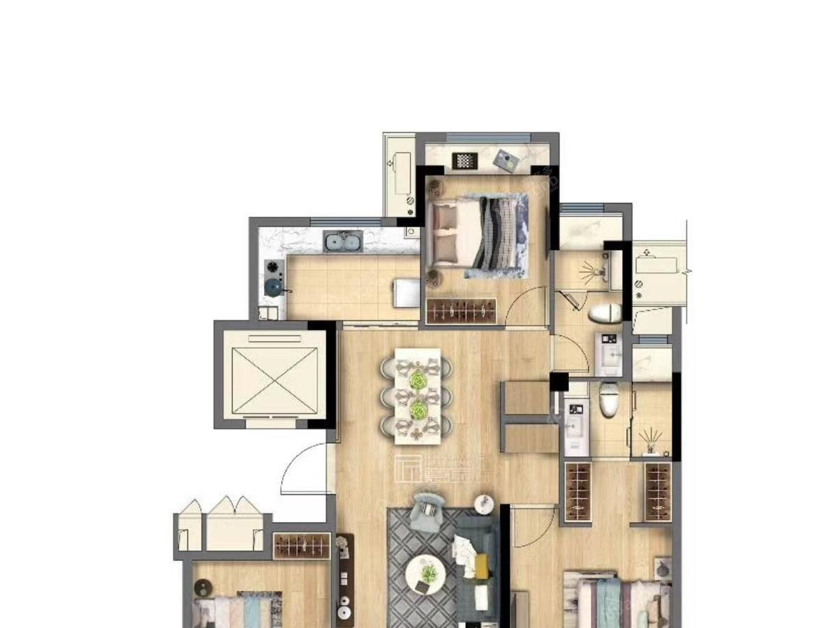 新澎湃国际社区3室2厅2卫户型图