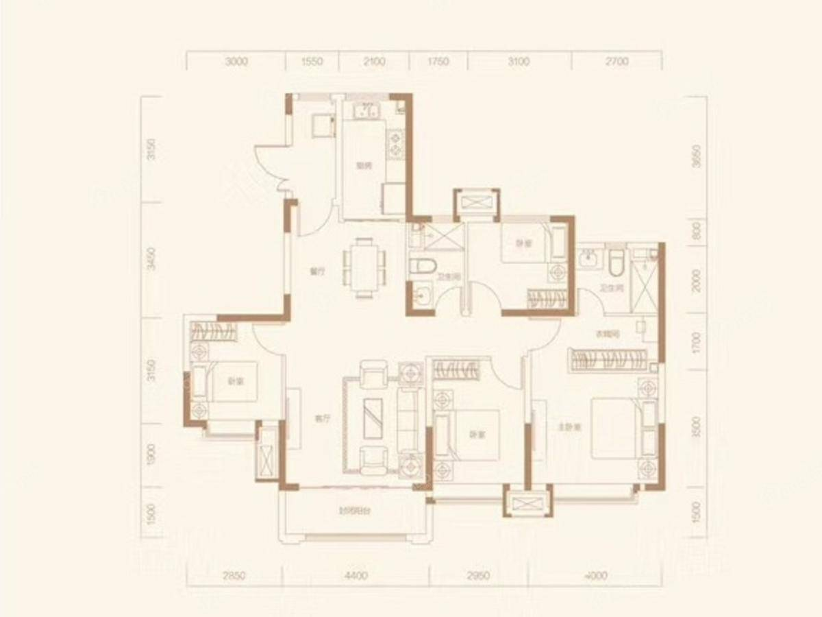 恒大翡翠湾4室2厅2卫户型图