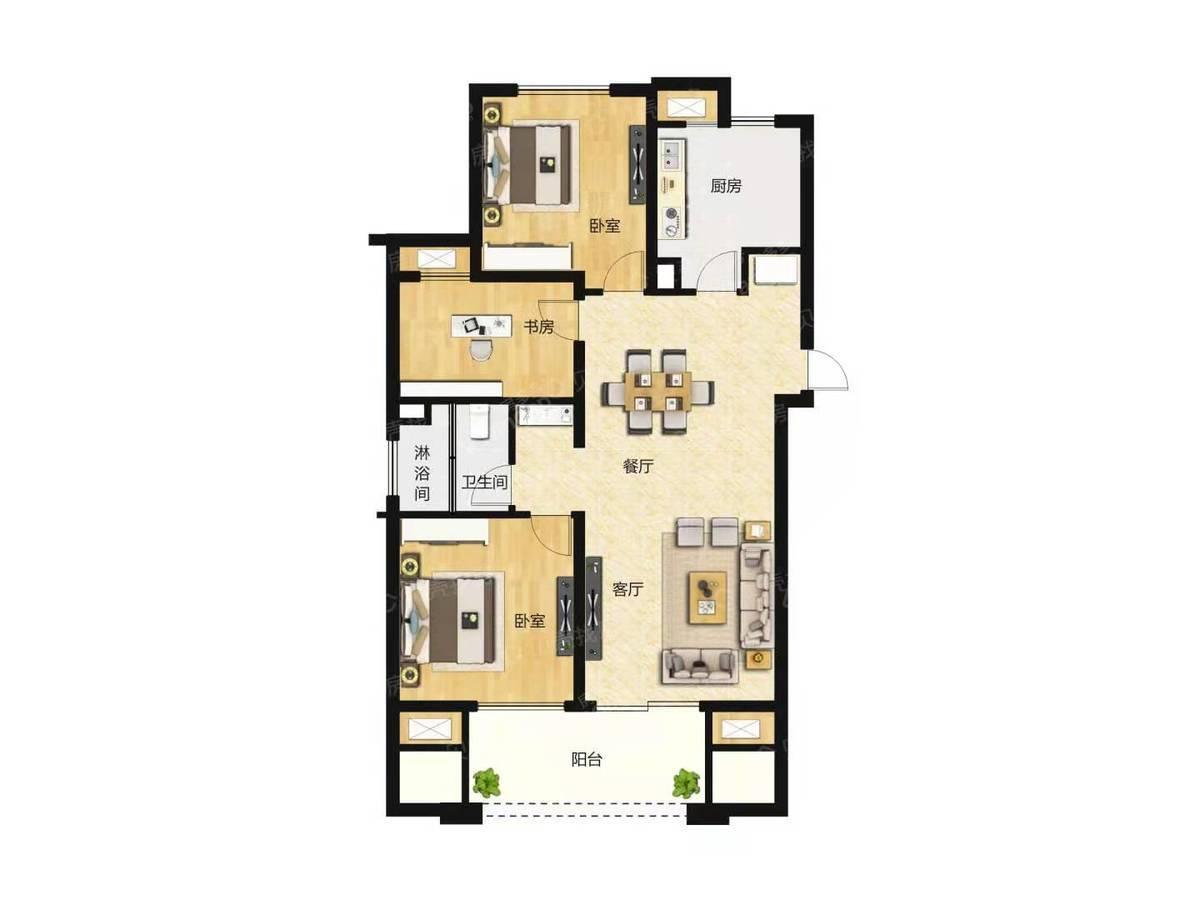悦城华庭3室2厅1卫户型图