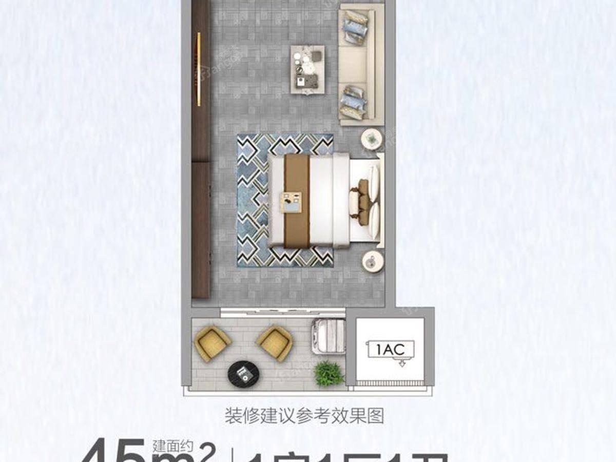 世茂印山海1室1厅1卫户型图