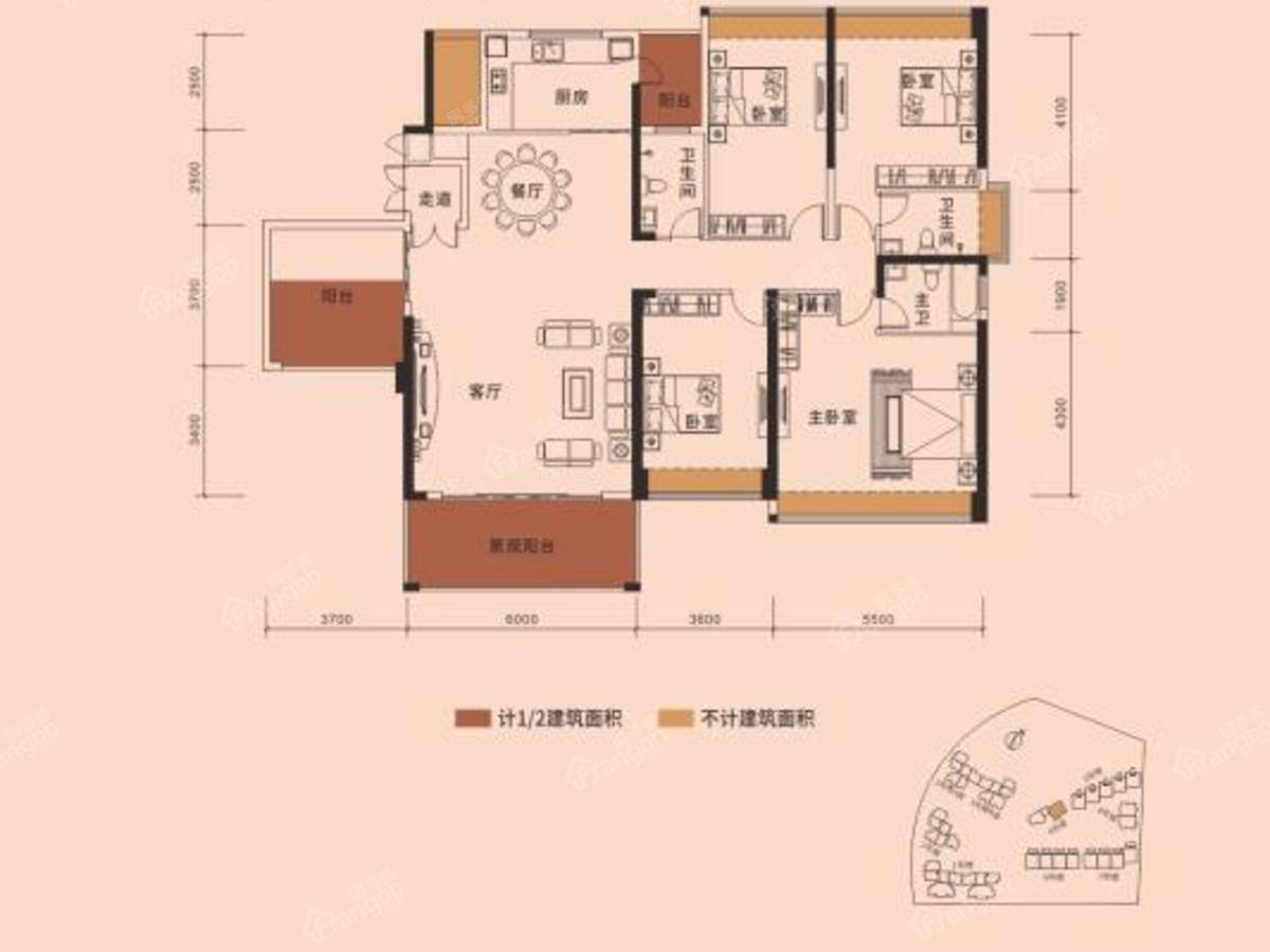 又一城5室2厅3卫户型图