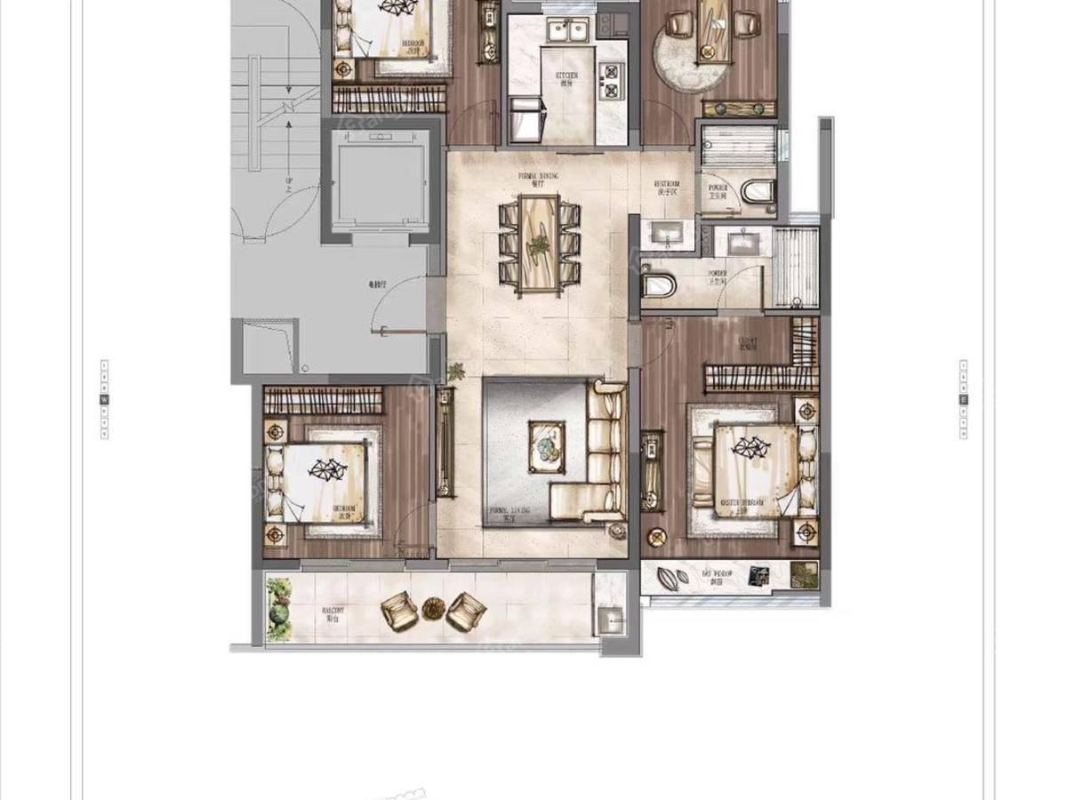 华侨城芳菲与城4室2厅2卫户型图