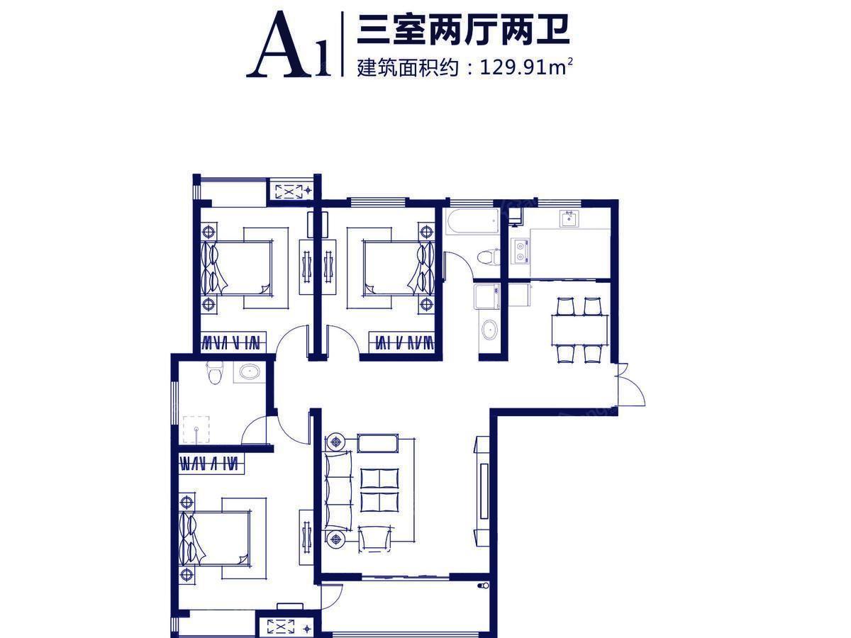 东盟·金水湾3室2厅2卫户型图