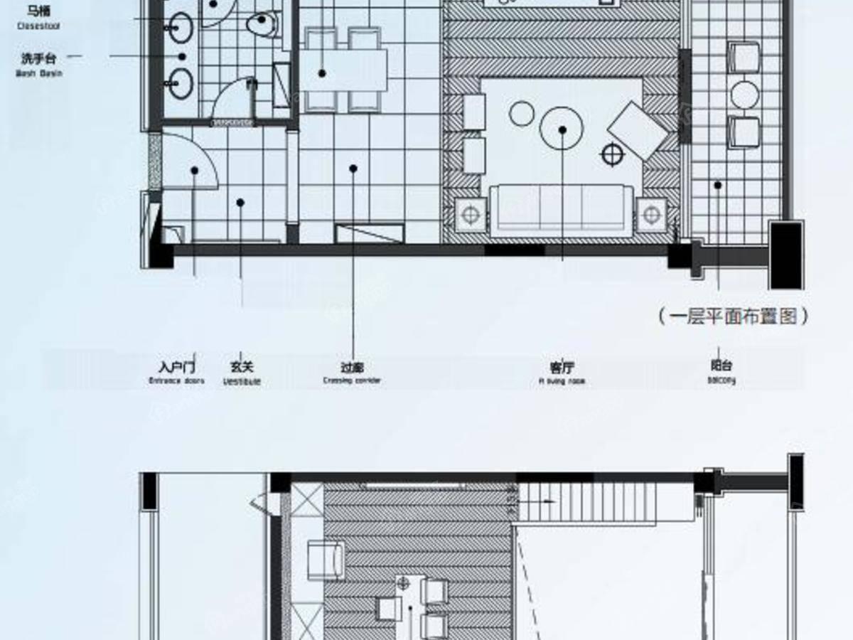 中南·朱里雅集1室1厅1卫户型图