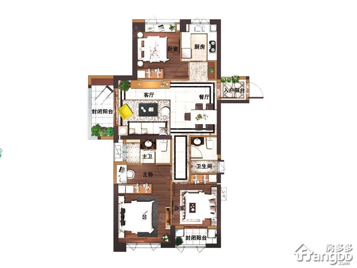 古龙尚逸园3室2厅1卫户型图