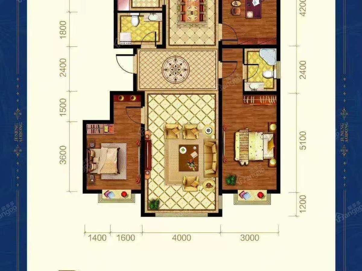 巨能澳东3室2厅2卫户型图