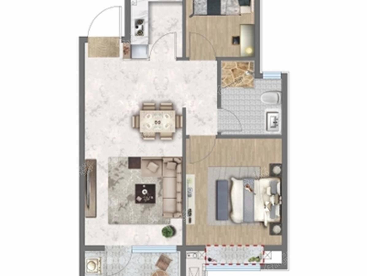 绿地·溪山境2室1厅1卫户型图