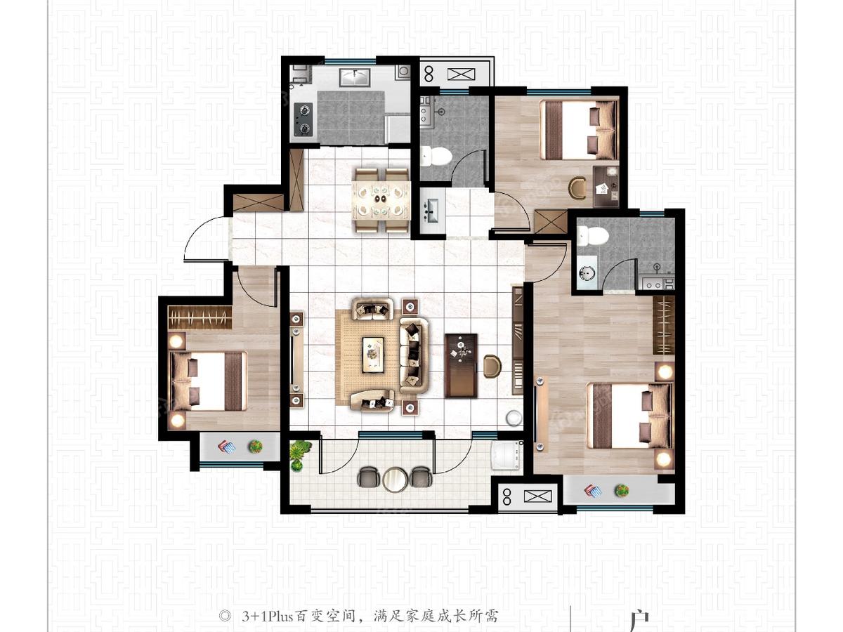 佳兆业悦峰3室2厅2卫户型图
