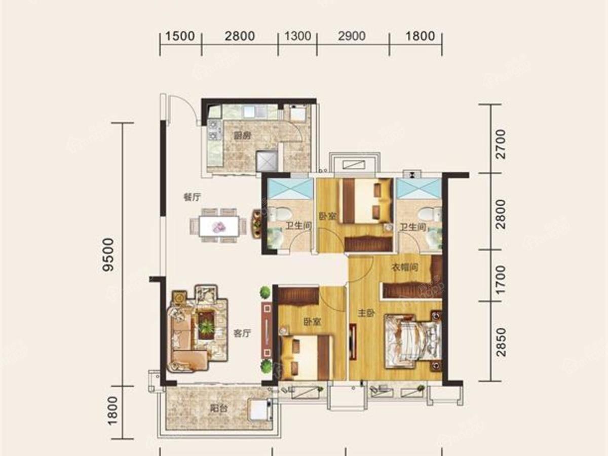 台山恒大名都3室2厅2卫户型图