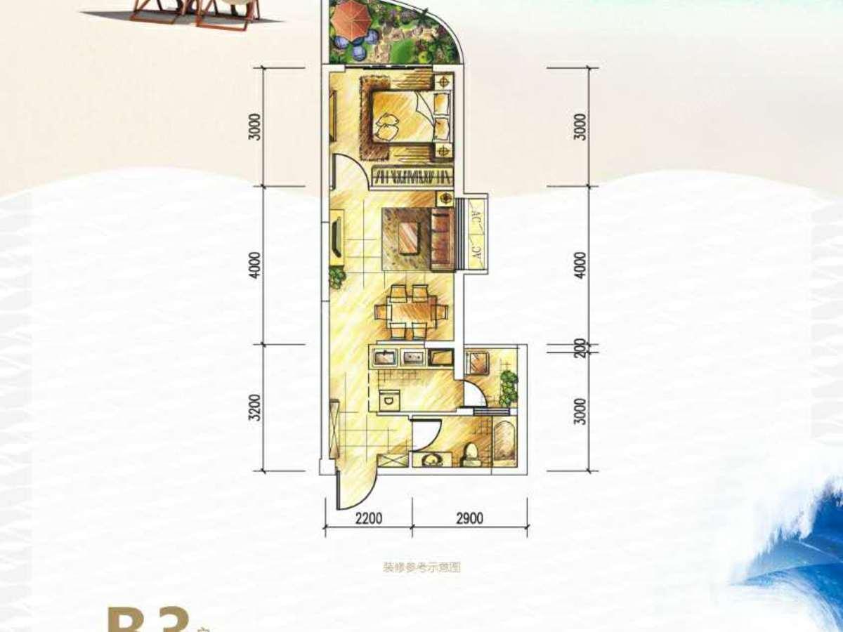 德利海北海1室2厅1卫户型图