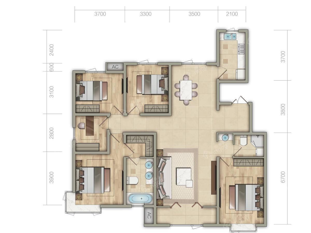 金泰丽湾5室2厅2卫户型图