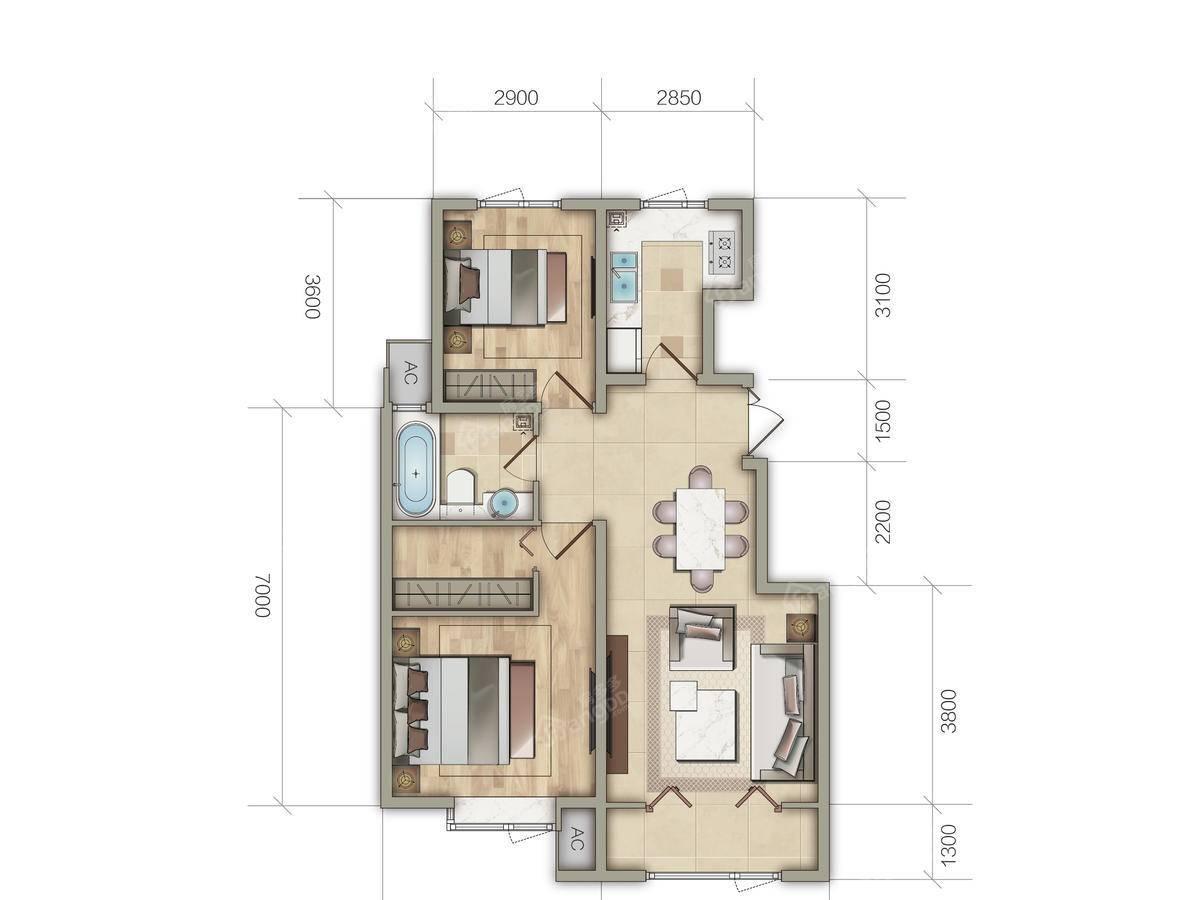 金泰丽湾2室2厅1卫户型图
