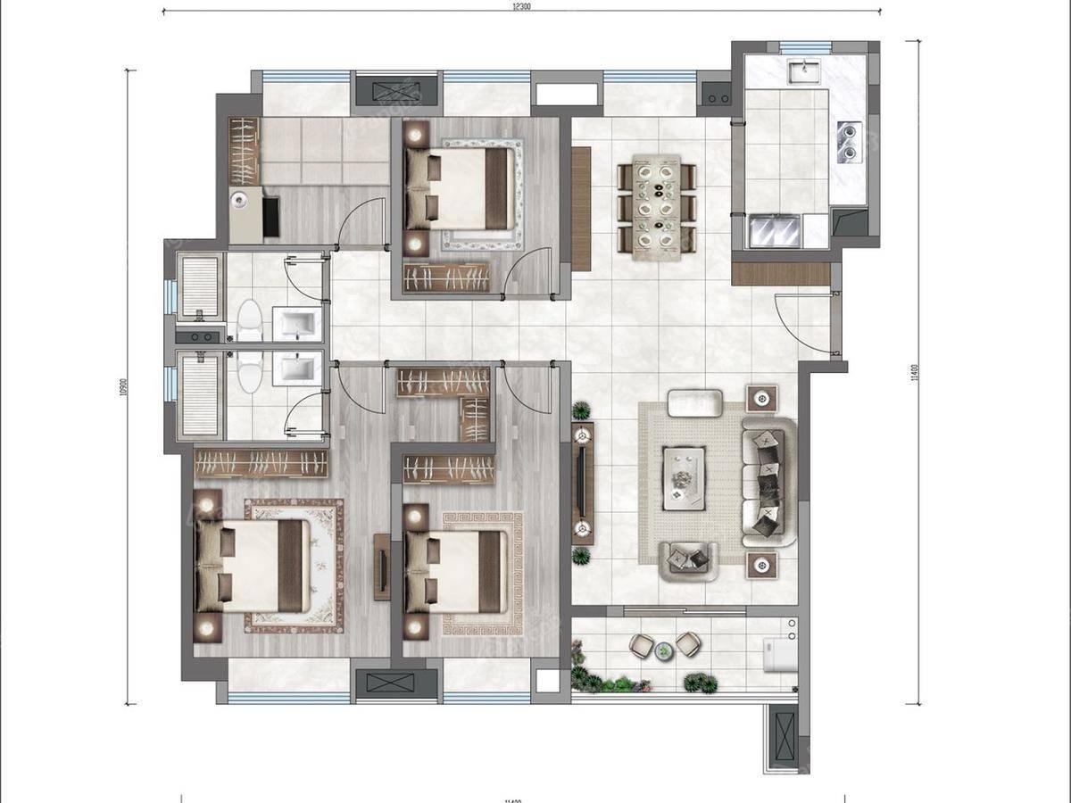 万科云城4室2厅2卫户型图