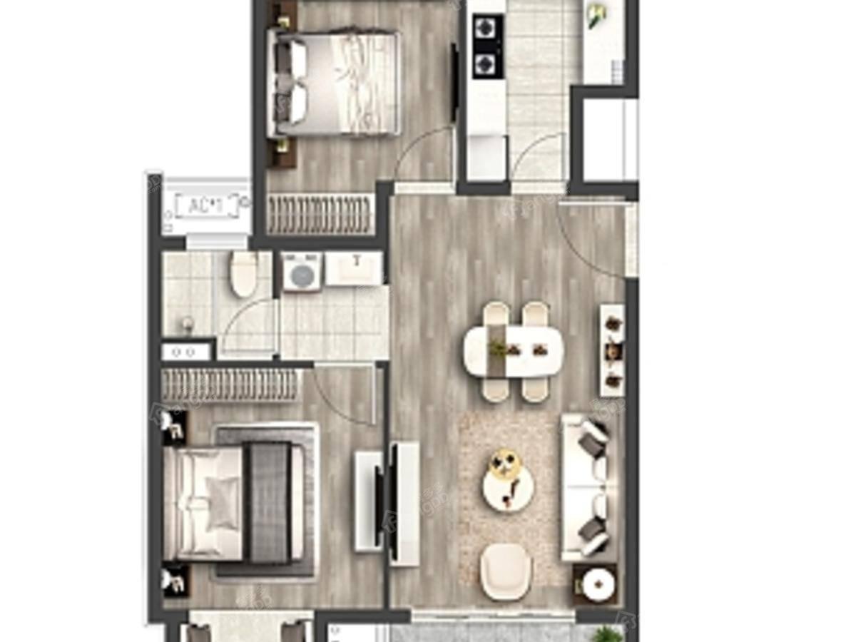 蠡湖国际小镇2室2厅1卫户型图