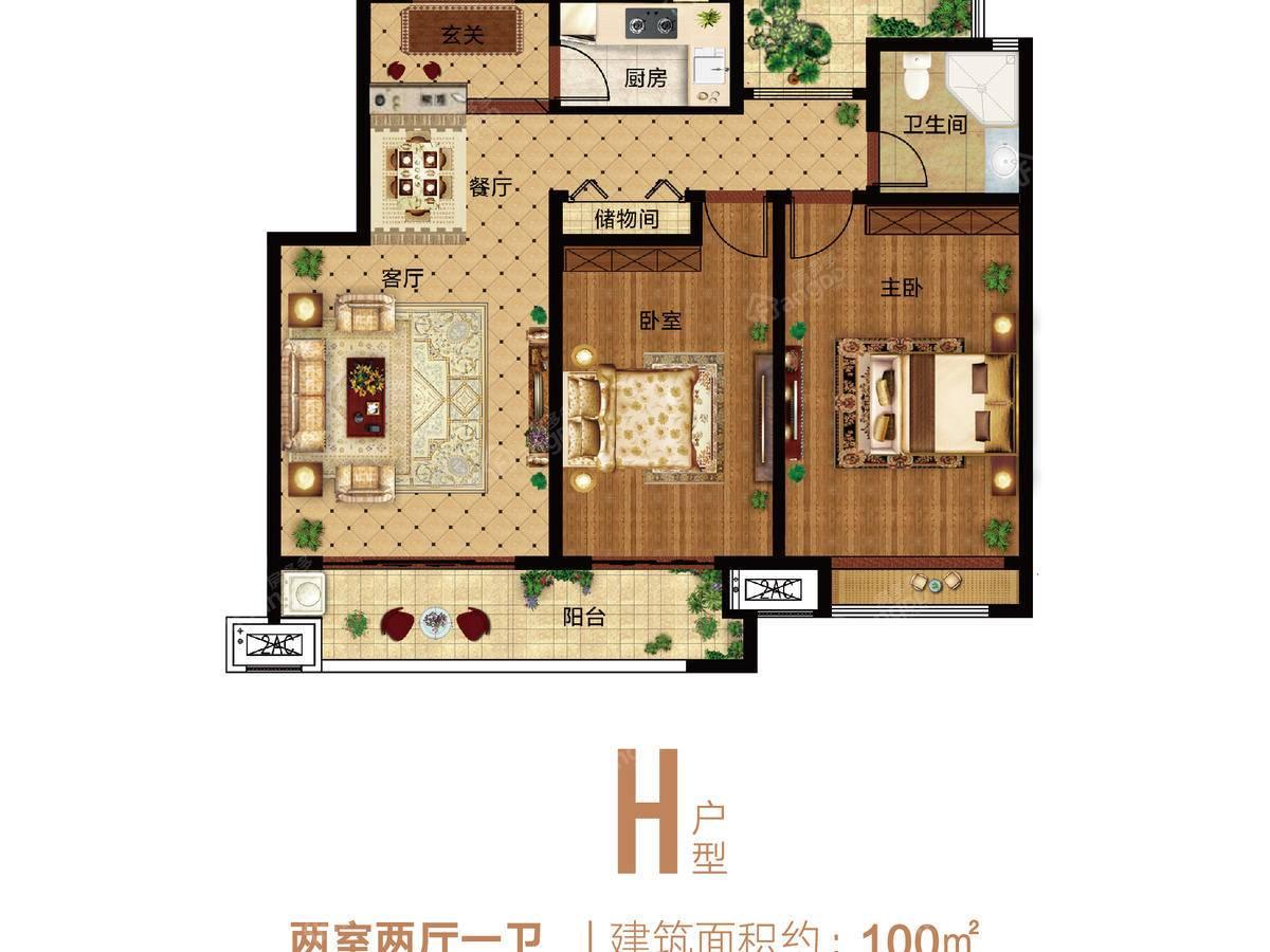 郑州孔雀城2室2厅1卫户型图