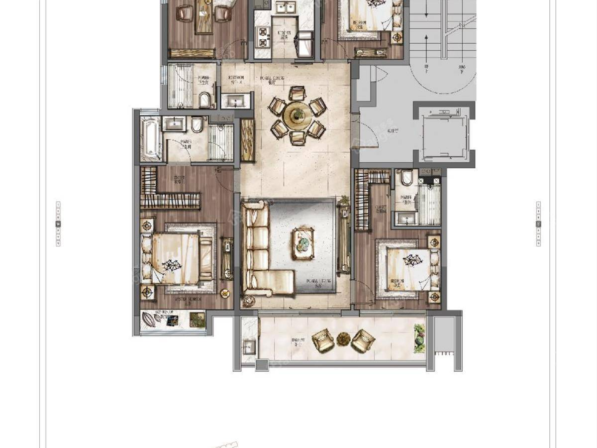 华侨城芳菲与城4室2厅3卫户型图