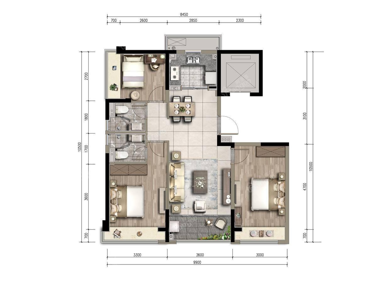 合生晶萃3室2厅2卫户型图