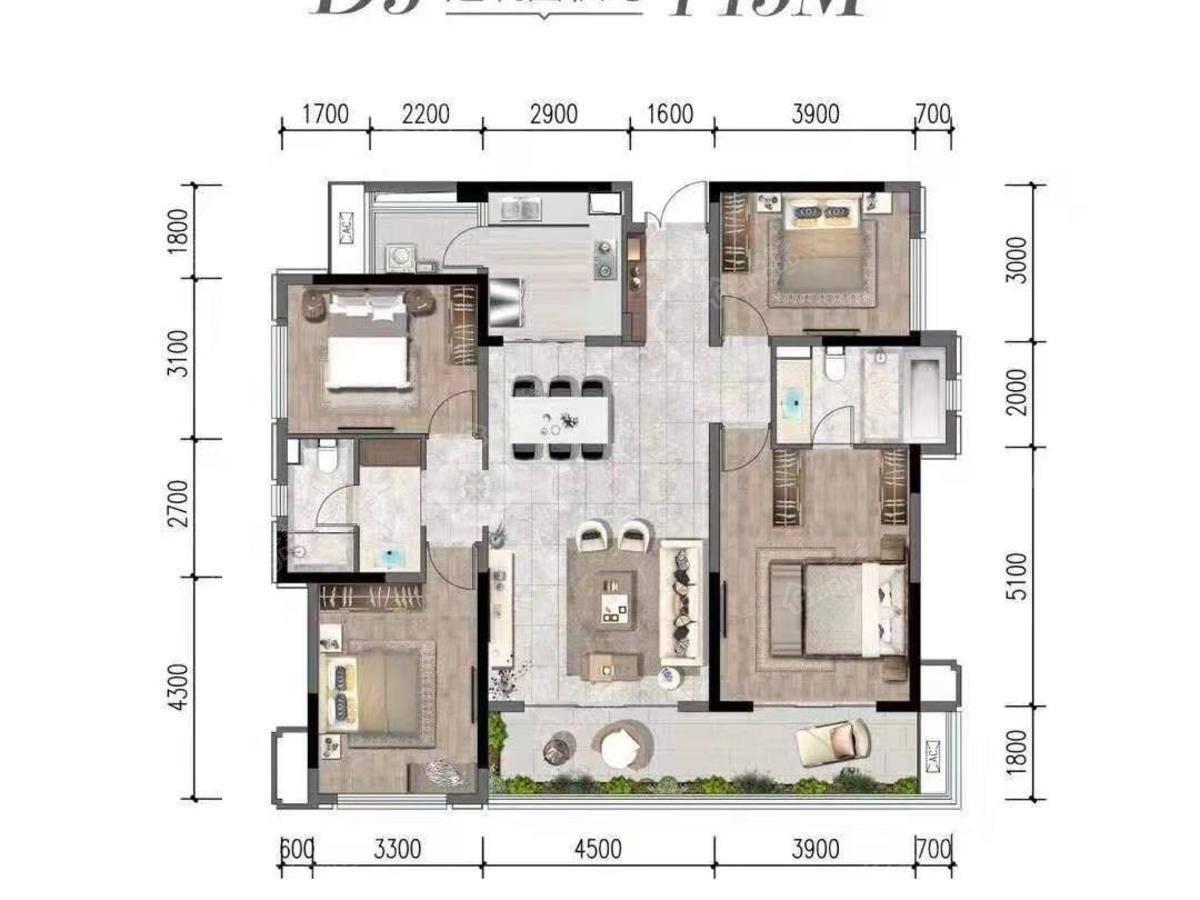 花样年家天下4室2厅2卫户型图