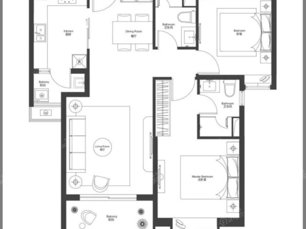 瑞虹新城天悦郡庭2室2厅2卫户型图