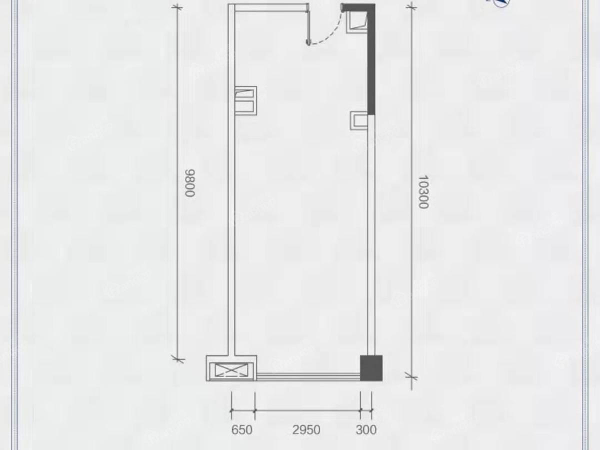 广物·星港国际1室1厅1卫户型图